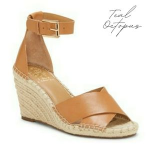 VINCE CAMUTO WIDE LEERA WEDGE ESPADRILLE TAN 7W